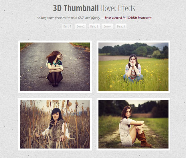 3D Thumbnail Hover - Hover effects with CSS 3D transforms and jQuery