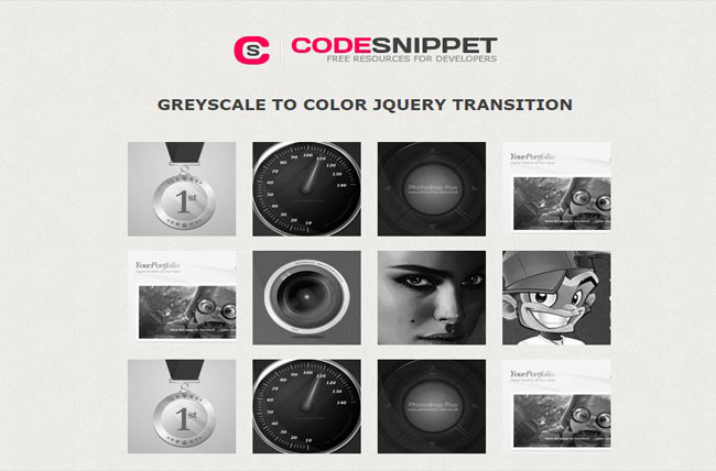 Greyscale - jQuery Color Fade Hover Effect on image