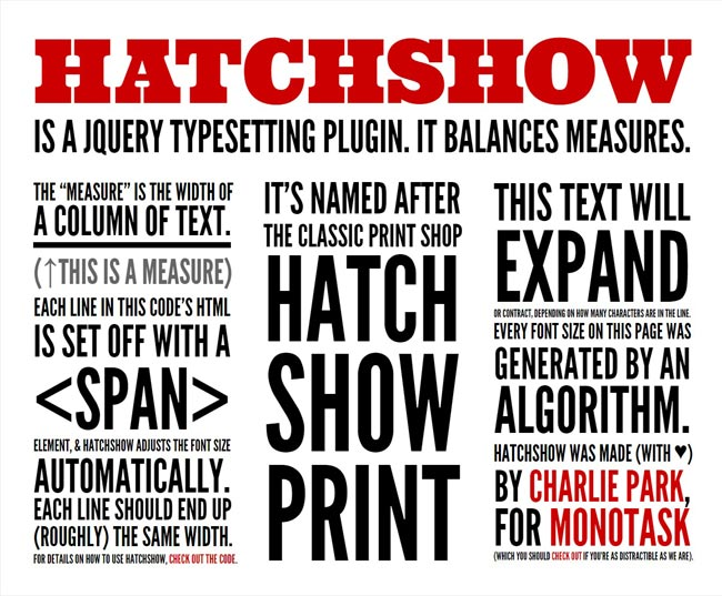 HatchShow – jQuery Typesetting Free Plugin